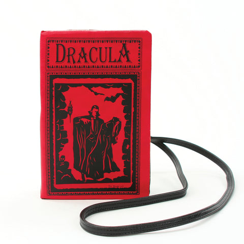 Dracula Book Cross Body Bag in Vinyl, red color, front view