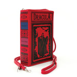 Dracula Book Cross Body Bag in Vinyl, red color, side/spine view