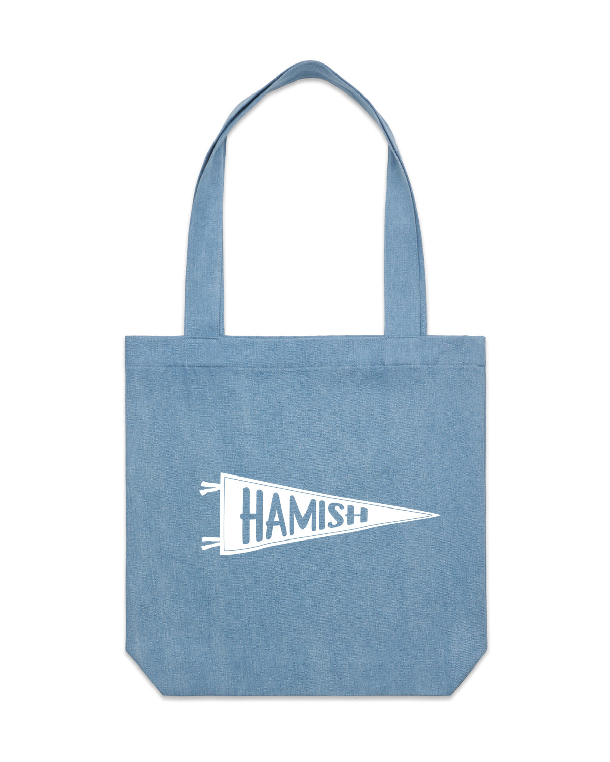 Pennant Flag Name | Denim Tote - Personalised Clothing | EAST ON 18th