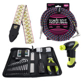 Ernie Ball Accessories / Tools Ernie Ball 4114 Musician's Tool Kit, Power Peg, Jacquard Strap and Braided Cable Bundle #12