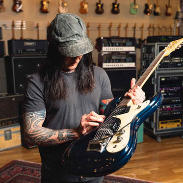 Richard Fortus Collection Richard with Mosrite Guitar