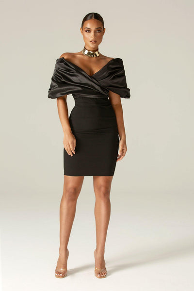 Maribel Crepe Ruffle Shoulder Dress (Black) - Alieva