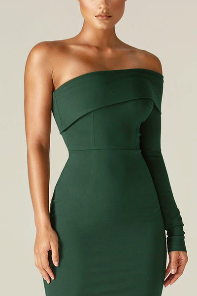 Rita One Shoulder Dress (Emerald Green) - Alieva