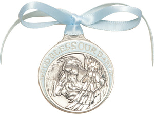 Baby with Angel Crib Medal Blue