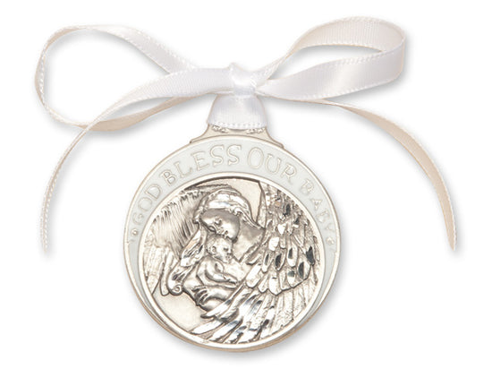 Baby with Angel Crib Medal White
