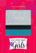 Load image into Gallery viewer, KJV Study Bible for Girls Silver/Teal, Butterfly Design LeatherTouch