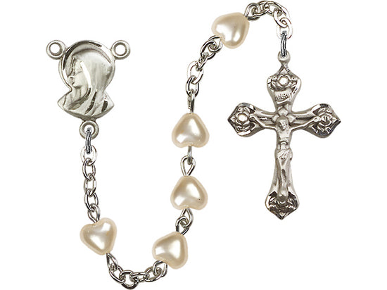 Heart Bead Silver Plate Rosary