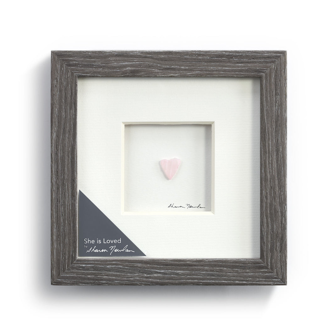 She is Loved Wall Art Pebble Wood Frame
