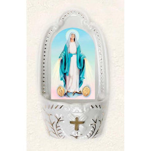 Miraculous Mary with Medals Holy Water Font
