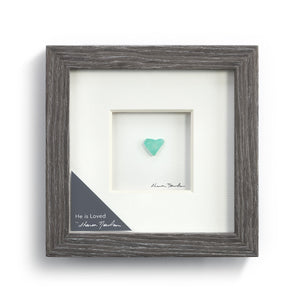 He is Loved Wall Art Pebble Wood Frame
