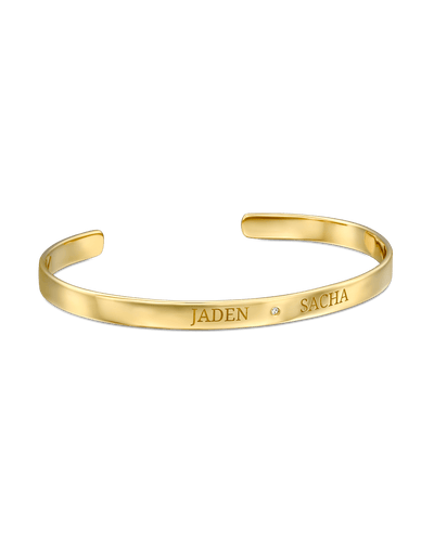 2 Names Bangle -18K Yellow Gold Plated- The Adorned-