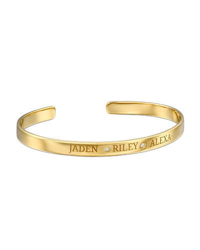 3 Names Bangle -18K Yellow Gold Plated- The Adorned-