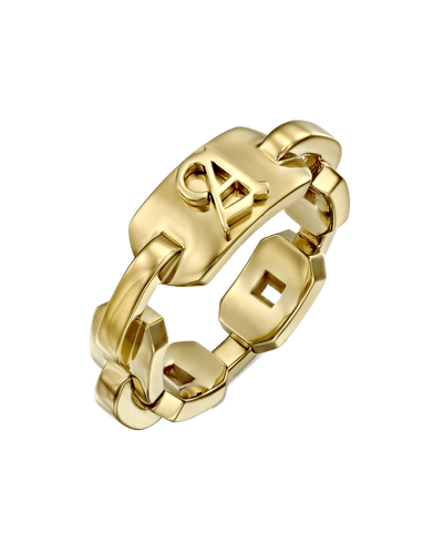 Blackletter Chain Ring -18K Yellow Gold Plated- The Adorned-
