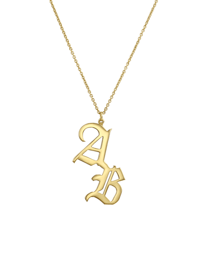 Blackletter Double Initial hanging Necklace -18K Yellow Gold Plated- The Adorned -
