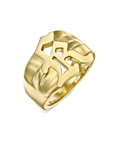 Blackletter Inlet Letter Ring -18K Yellow Gold Plated- The Adorned -