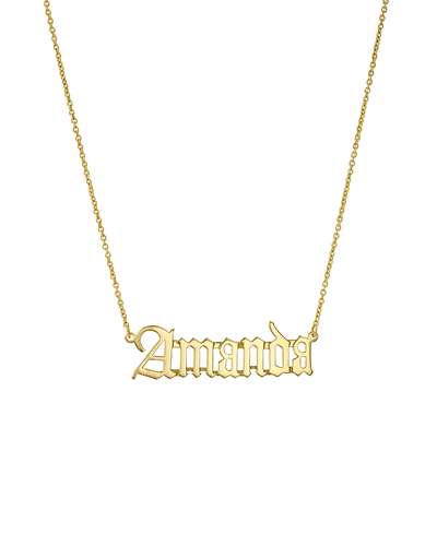 Blackletter Nameplate -18K Yellow Gold Plated- The Adorned -