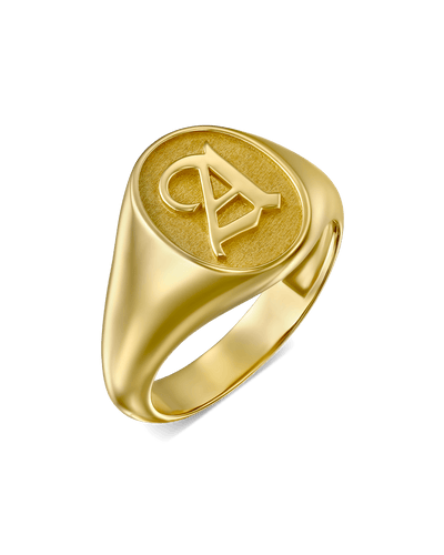 Blackletter Signet Ring -18K Yellow Gold Plated- The Adorned -