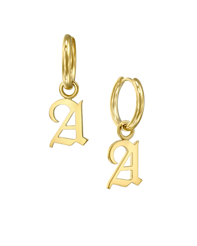 Charm Huggies in Blackletter -18K Yellow Gold Plated- The Adorned -
