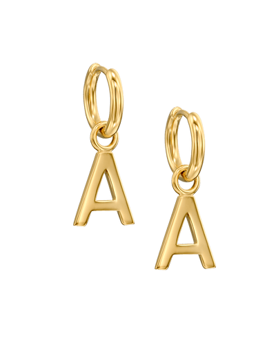 Charm Huggies in Sans Serif -18K Yellow Gold Plated- The Adorned-