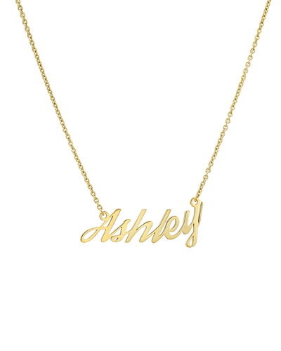 Cursive Nameplate -18K Yellow Gold Plated- The Adorned-
