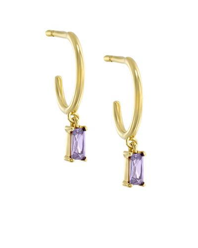 Dangling Baguette Huggies - Purple -18K Yellow Gold Plated- The Adorned-