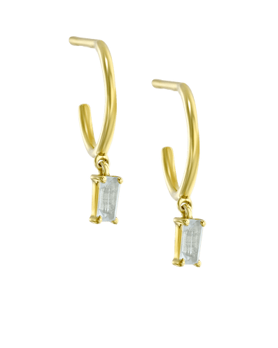 Dangling Baguette Huggies - White -18K Yellow Gold Plated- The Adorned-