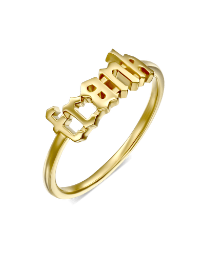 Delicate Blackletter Name Ring -18K Yellow Gold Plated- The Adorned-