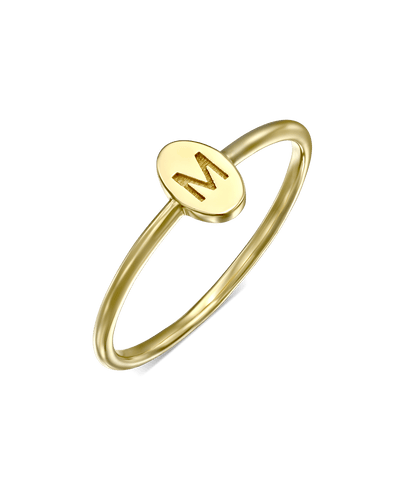 Delicate Oval Initial Ring With Plate -18K Yellow Gold Plated- The Adorned-
