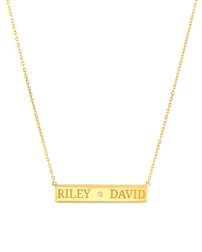 Diamond Bar Necklace - 2 Names - Serif -18K Yellow Gold Plated- The Adorned-