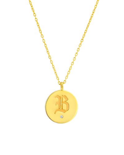 Diamond Medallion - Blackletter -18K Yellow Gold Plated- The Adorned-