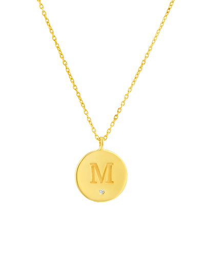 Diamond Medallion - Serif -18K Yellow Gold Plated- The Adorned-