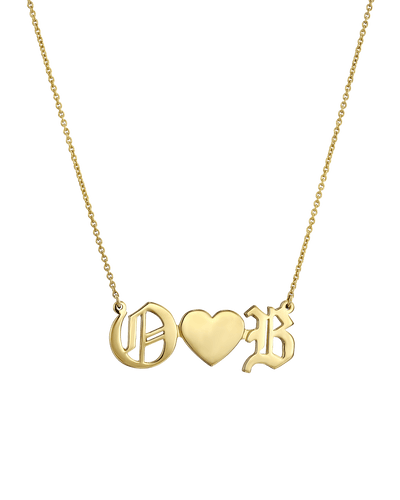 Double Blackletter Initials Love Necklace -18K Yellow Gold Plated- The Adorned-