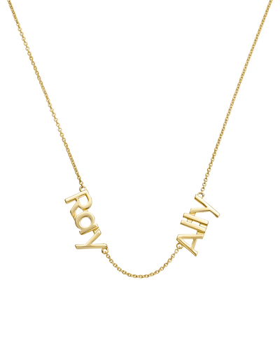 Double Print Name Necklace -18K Yellow Gold Plated- The Adorned-