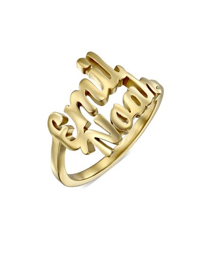 Double Spiral Script Name Ring -18K Yellow Gold Plated- The Adorned-