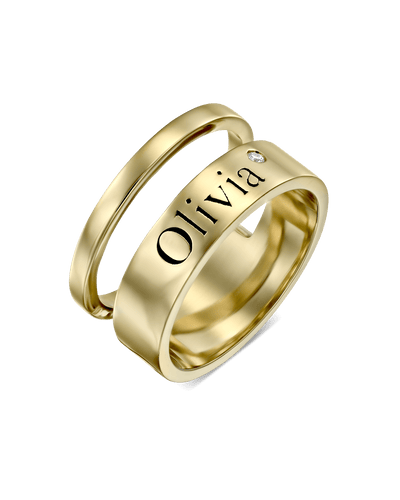 Double Stacked Single Engraving Ring with Diamond -18K Yellow Gold Plated- The Adorned-