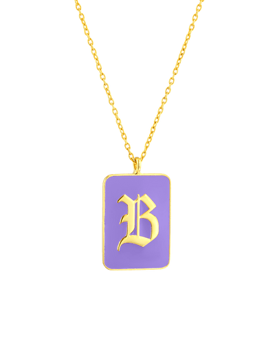 Enamel Dogtag - Blackletter -18K Yellow Gold Plated- The Adorned-