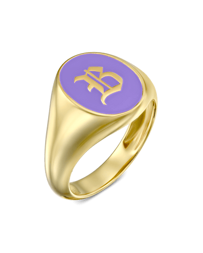 Enamel Signet Ring - Blackletter -18K Yellow Gold Plated- The Adorned-