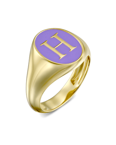 Enamel Signet Ring - Serif -18K Yellow Gold Plated- The Adorned-