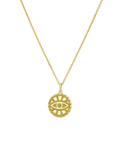 Evil Eye Medallion -18K Yellow Gold Plated- The Adorned-