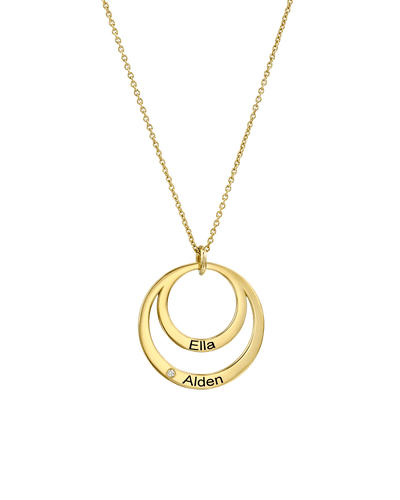 Family Circle Necklace with Diamond -Sterling Silver- The Adorned-
