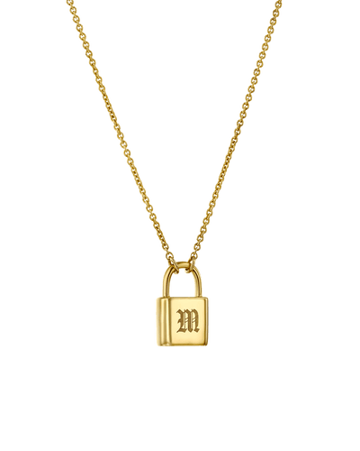 Initial Lock Necklace - Blackletter -Sterling Silver- The Adorned-