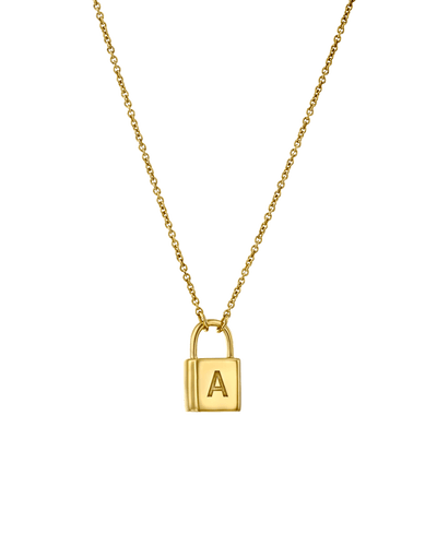 Initial Lock Necklace - Sans -18K Yellow Gold Plated- The Adorned-