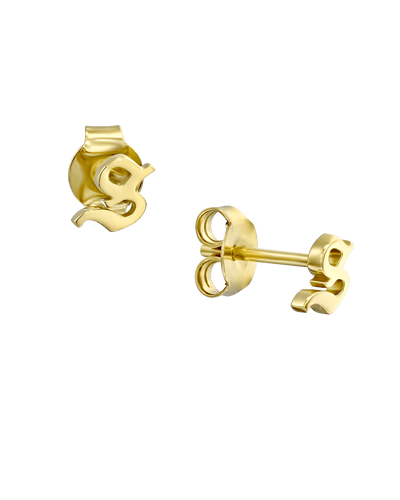 Initial Studs - Blackletter -18K Yellow Gold Plated- The Adorned -