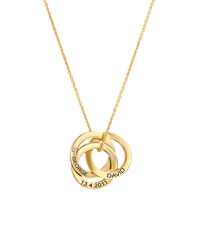 Interlocking Triplet Family Pendants with Diamond -18K Yellow Gold Plated- The Adorned-