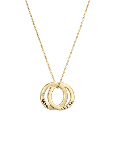 Interlocking Twin Pendants With Diamond -18K Yellow Gold Plated- The Adorned-