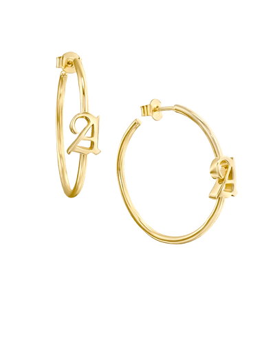 Large Blackletter Initial Hoop Earrings -18K Yellow Gold Plated- The Adorned-