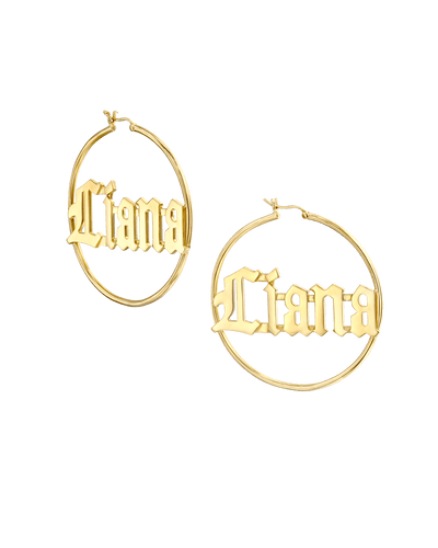 Large Inlet Initial Hoop Earrings in Blackletter -18K Yellow Gold Plated- The Adorned -