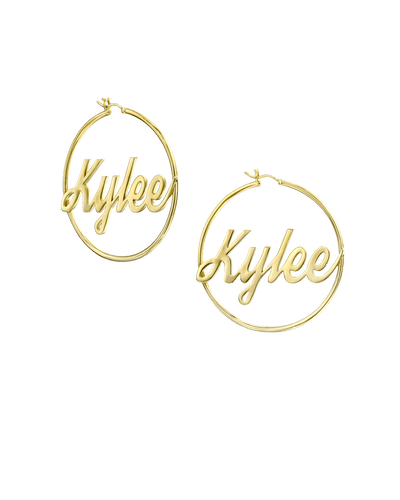 Large Inlet Initial Hoop Earrings in Script -18K Yellow Gold Plated- The Adorned-