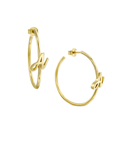 Large Script Initial Hoop Earrings -18K Yellow Gold Plated- The Adorned-