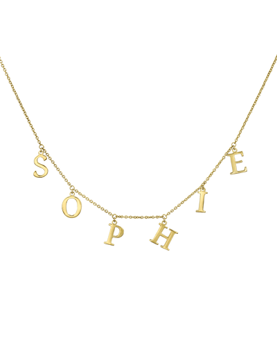 Name Chain Necklace-Serif -18K Yellow Gold Plated- The Adorned-